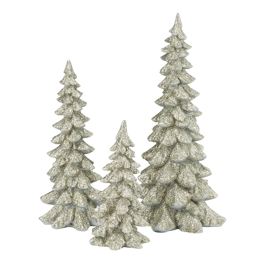 Silver Holiday Trees, Set of 3