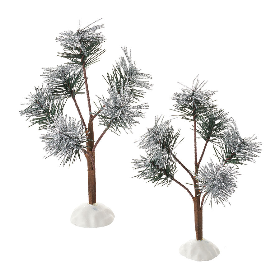 Silver Sparkle Pines, Set of 2