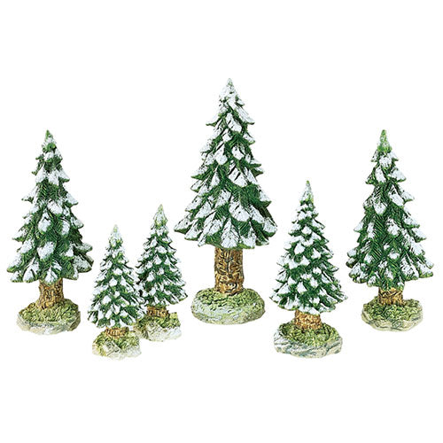 Village Snowy Evergreen Trees