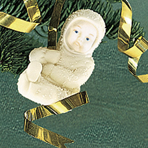 Snowbaby On A Brass Ribbon Orn