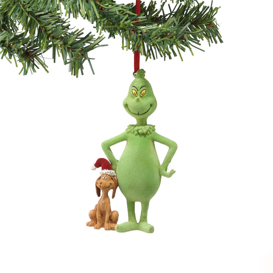 Flocked Grinch & Santa Max Orn