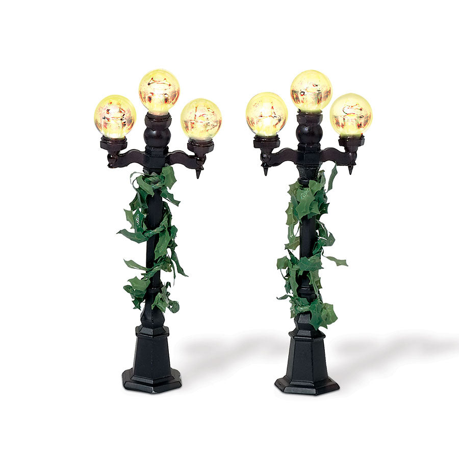 Holly-Covered Lampposts