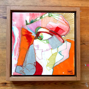Original artwork on wood. Transparent VII, framed 20x20cm