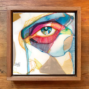Original artwork on wood. Transparent IV, framed 20x20cm