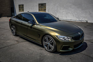 Full wrap for a BMW 430i M sport package purchase from Nick Alexander dealership in Los Angeles California. Car wrapped in Hexis Matte Golden Black