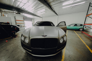 Bentley Flying spur wrapped in Los Angeles california in Avery Dennison Matte dark grey