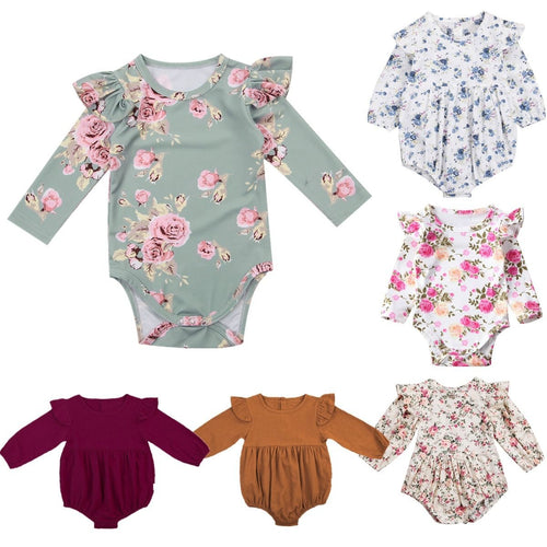 Long Butterfly Sleeve Romper Outfits Jumpsuit for  Baby Girls 0-3Y