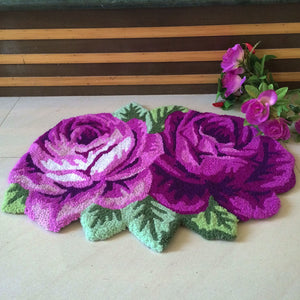 High Quality Handmade Floral Embroidery rug for Home Decor