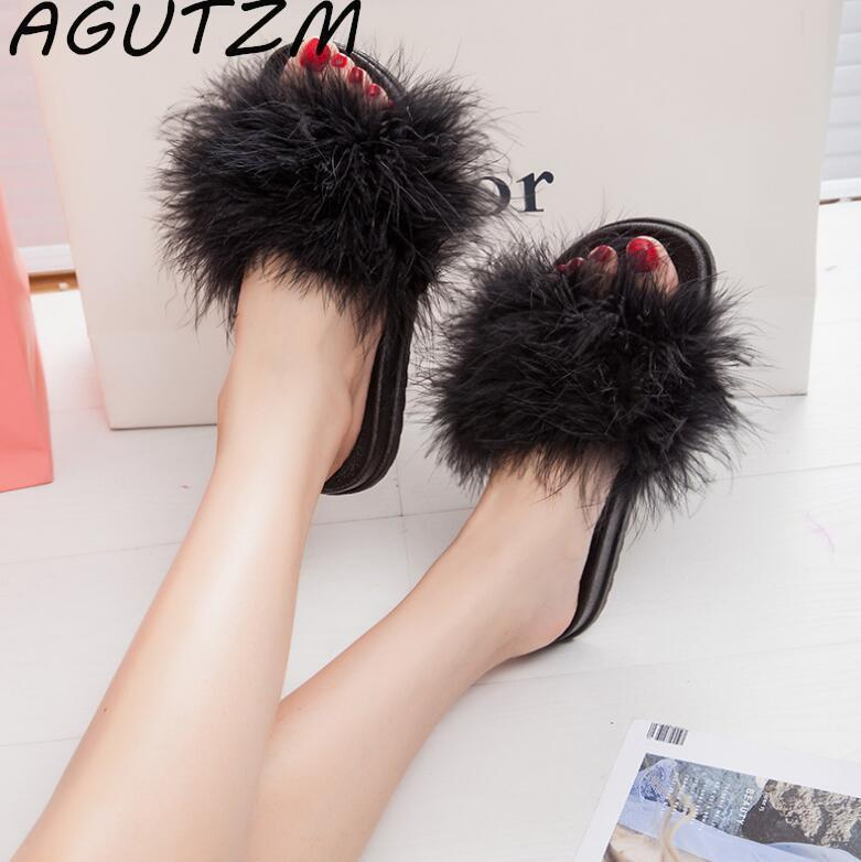 AGUTZM Black Fluffy Sliders Sweet Feather Style Flip Flops For Women