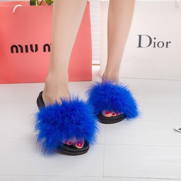 AGUTZM Blue Fluffy Sliders Sweet Feather Style Flip Flops For Women