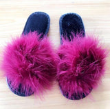 AGUTZM Burgundy Fluffy Sliders Feather Style Flip Flops For Women