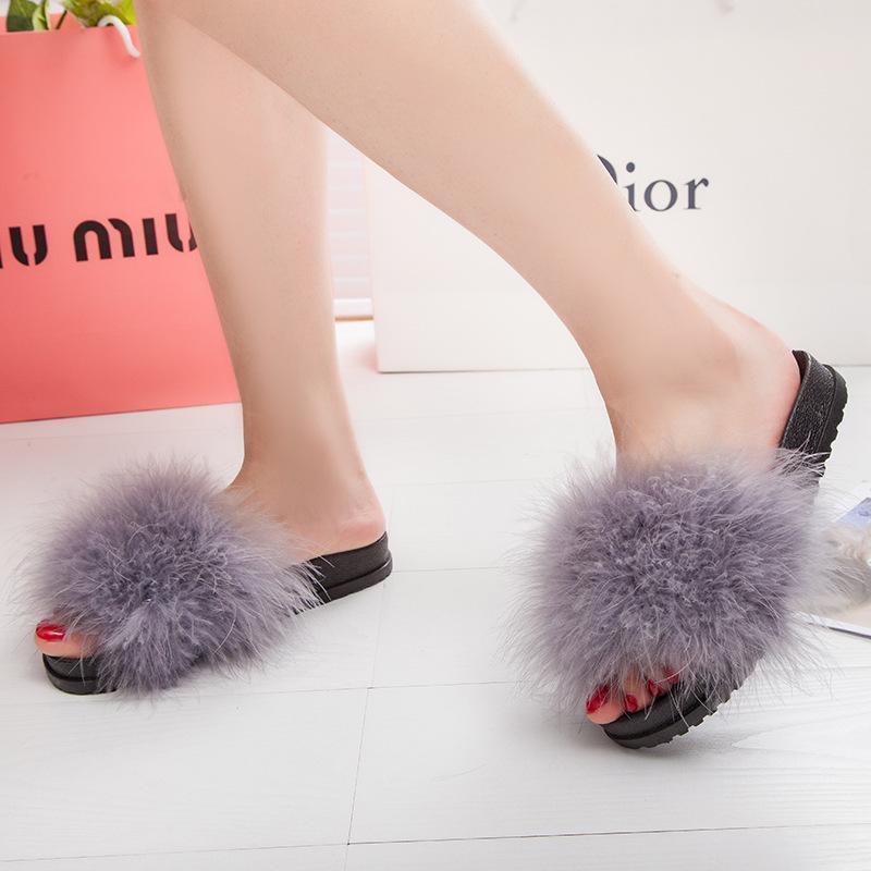 AGUTZM Grey Fluffy Sliders Sweet Feather Style Flip Flops For Women