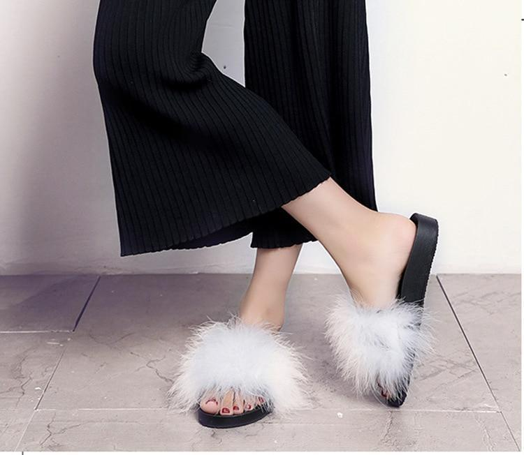 AGUTZM White Fluffy Sliders Feather Thick Bottom For Women