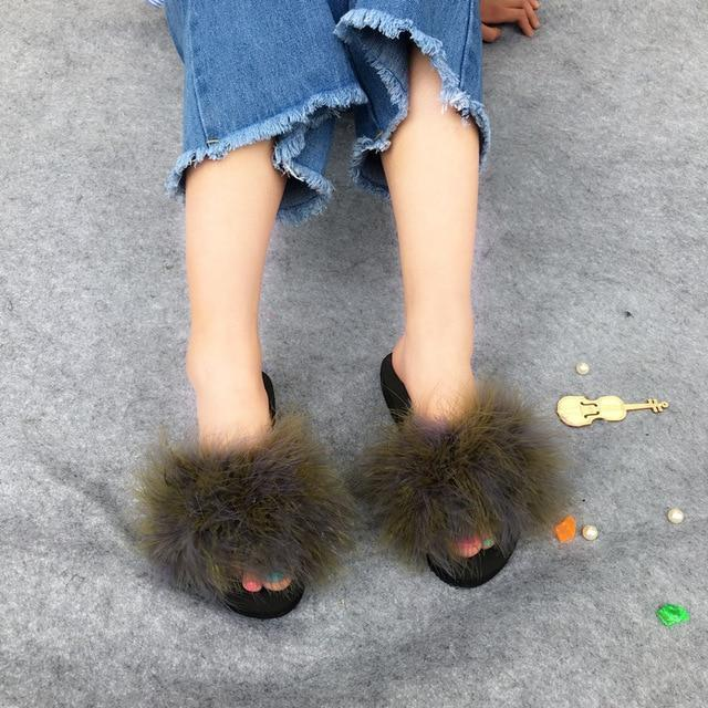 Berkane Army Green Fluffy Sliders Ostrich Feathers Fluffy Beach Shoes