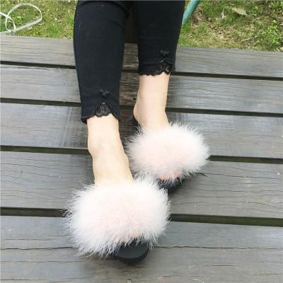 Berkane Beige Fluffy Sliders Fluffy Beach Shoes for Women