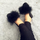 Berkane Black Fluffy Sliders Ostrich Feathers Fluffy for Women