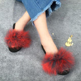 Berkane Grey Red Fluffy Sliders Fluffy Beach Shoes for Women