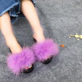 Berkane Lavender Purple Fluffy Sliders Ostrich Feathers for Women