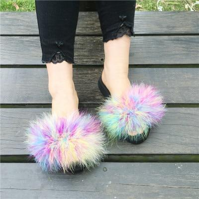 Berkane Multi Colour Rainbow Fluffy Sliders for Women