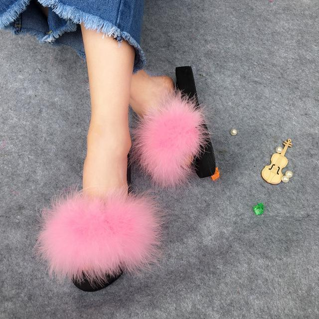 Berkane Pink Fluffy Sliders Ostrich Feathers Shoes for Women
