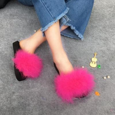 Berkane Rose Red Fluffy Sliders Fluffy Beach Slides for Women