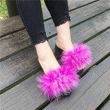 Berkane Rosy Pink Fluffy Sliders Holiday Slides for Women