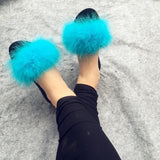 Berkane Sky Blue Fluffy Sliders Ostrich Feathers for Women