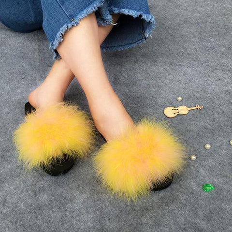 Berkane Yellow Fluffy Sliders Fluffy Beach Slides for Women