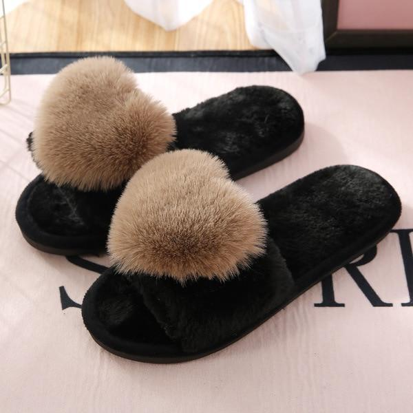 Bodensee Brown Furry Slippers Heart Cotton For Women