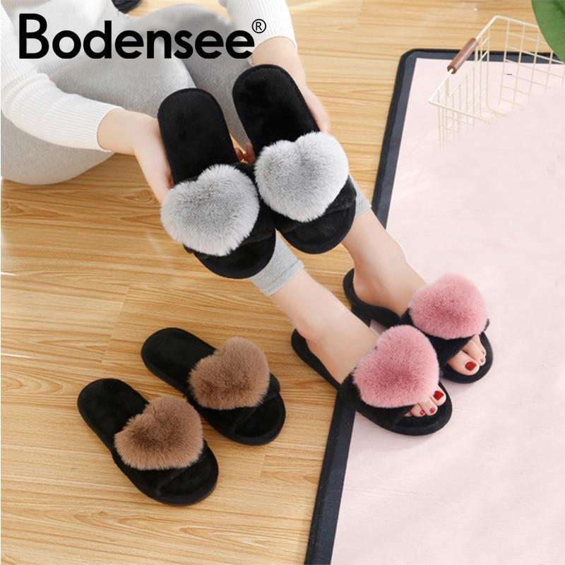 Bodensee Cream Furry Slippers Heart Cotton For Women