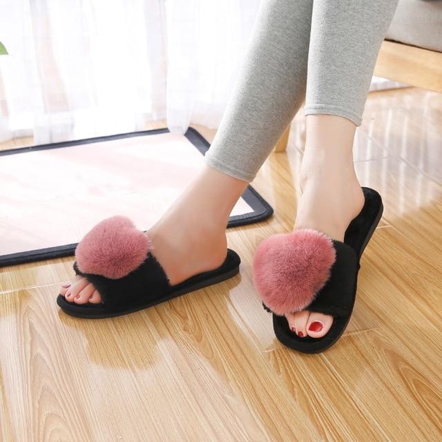 Bodensee Rosy Pink Furry Slippers Heart Cotton For Women