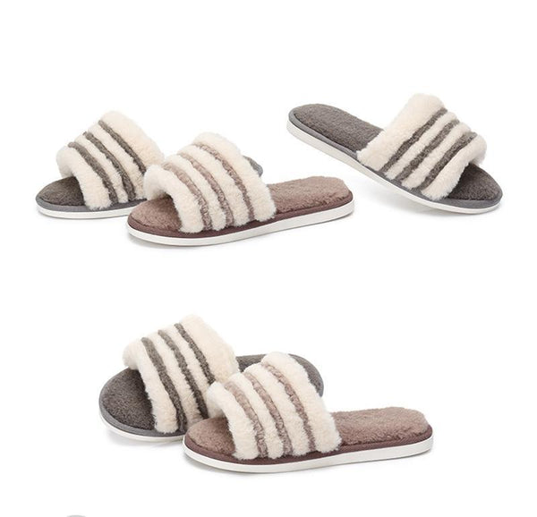 CAMEL Brown Fluffy Faux Slipper Furry Indoor For Women