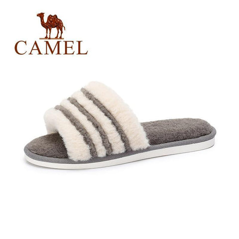 CAMEL Grey Fluffy Faux Slipper Furry Indoor For Women
