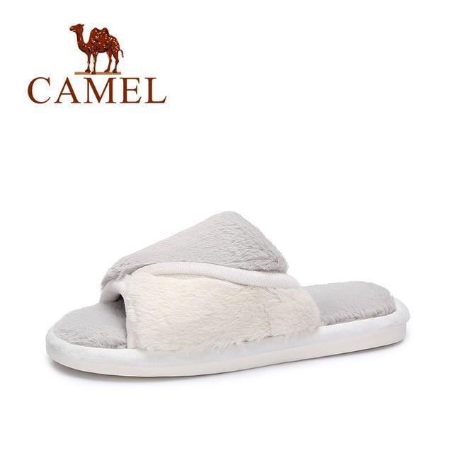 CAMEL Grey Fur Slippers Casual Furry Slipper For Women