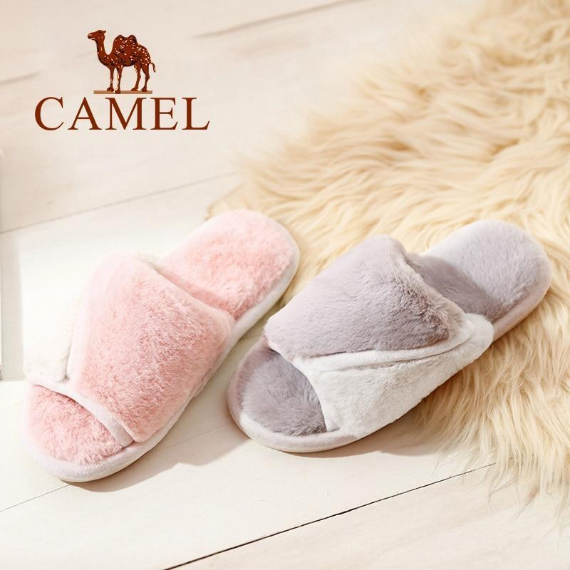 CAMEL Pink Fur Slippers Casual Furry Slipper For Women