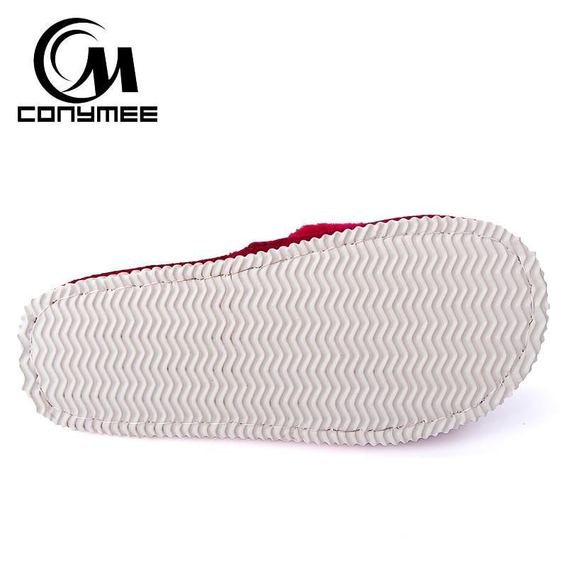 Conymee Black Fur Slippers Winter Shoes For Women
