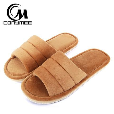Conymee Light Coffee Brown Fur Slippers Home Slippers For Women