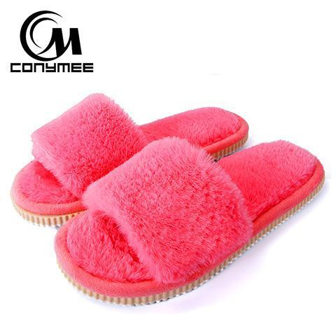Conymee Melon Red Fur Slippers Winter Shoes For Women