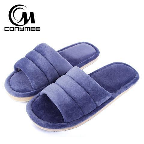 Conymee Navy Blue Fur Slippers Soft Home Slippers For Women