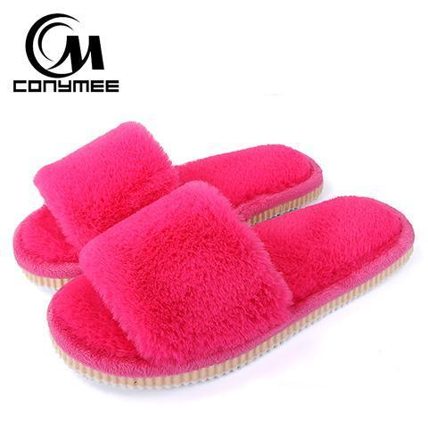 Conymee Rose Red Fur Slippers Winter Shoes For Women