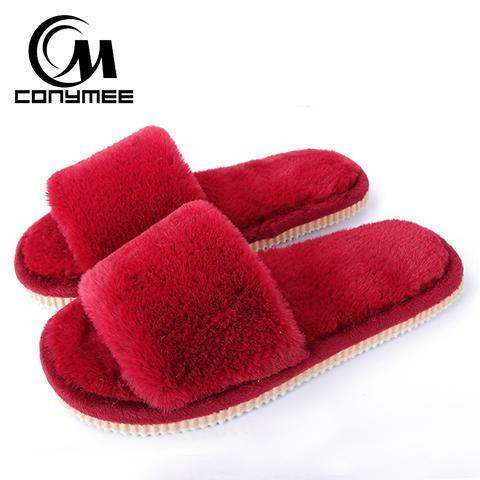 Conymee Wine Red Fur Slippers Winter Shoes For Women