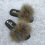 Coolsa Army Green Fluffy Faux Fur Sliders Sexy Party Shoes For Women