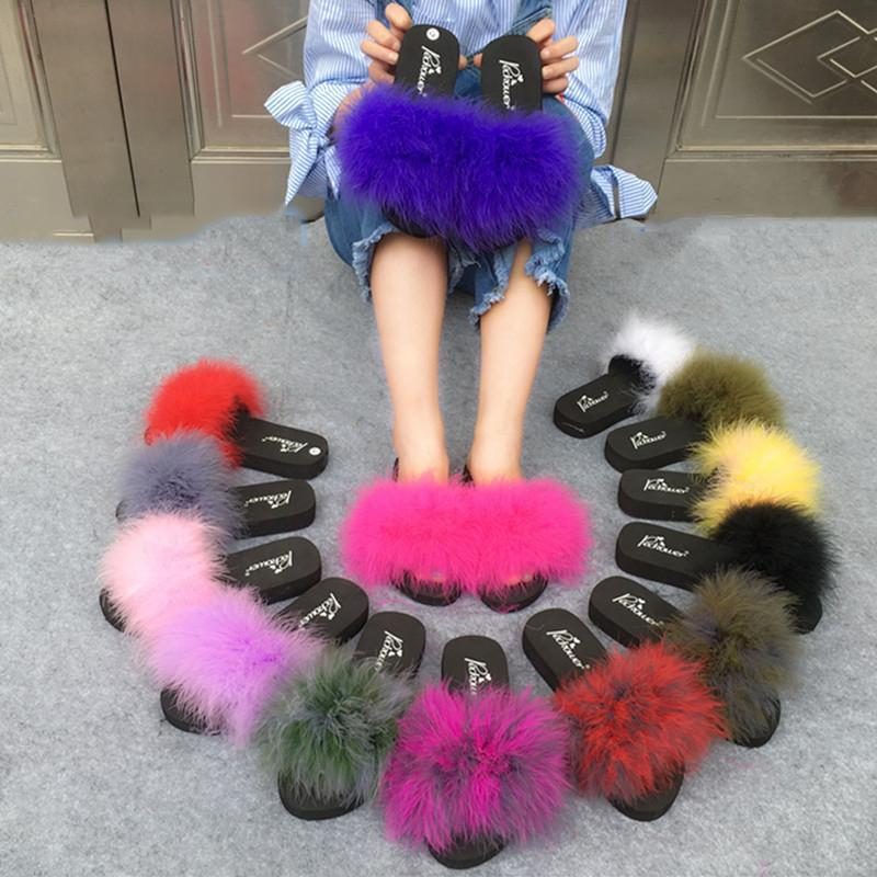 Coolsa Blue Fluffy Faux Fur Sliders Sexy Party Shoes For Women