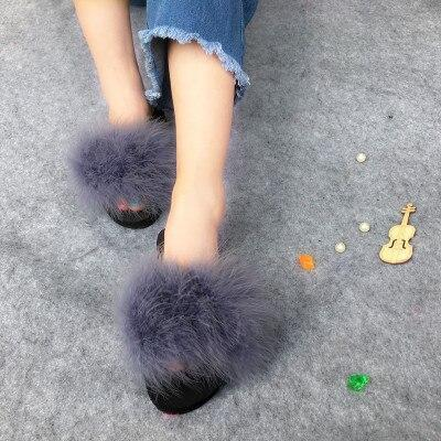 Coolsa Dark Grey Fluffy Faux Fur Sliders Sexy Party Shoes For Women