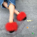 Coolsa Red Fluffy Faux Fur Sliders Sexy Party Shoes For Women