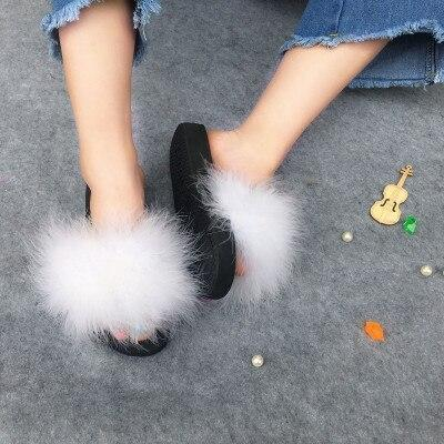 Coolsa White Faux Fur Sliders Fluffy Party Shoes For Women