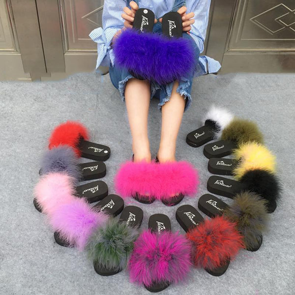 Coolsa Yellow Pink Faux Fur Sliders Fluffy Party Shoes For Women