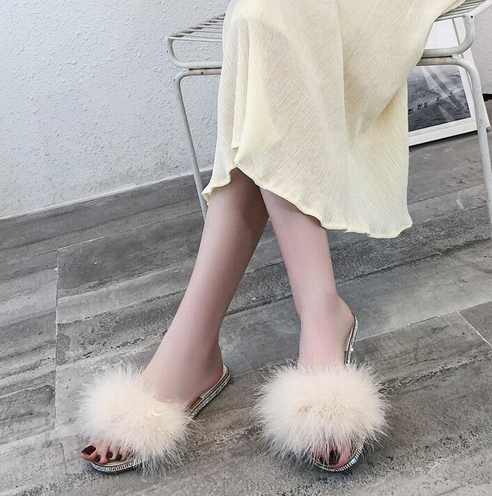 COVOYYAR Beige Fuzzy Sliders Feather Slides for Women