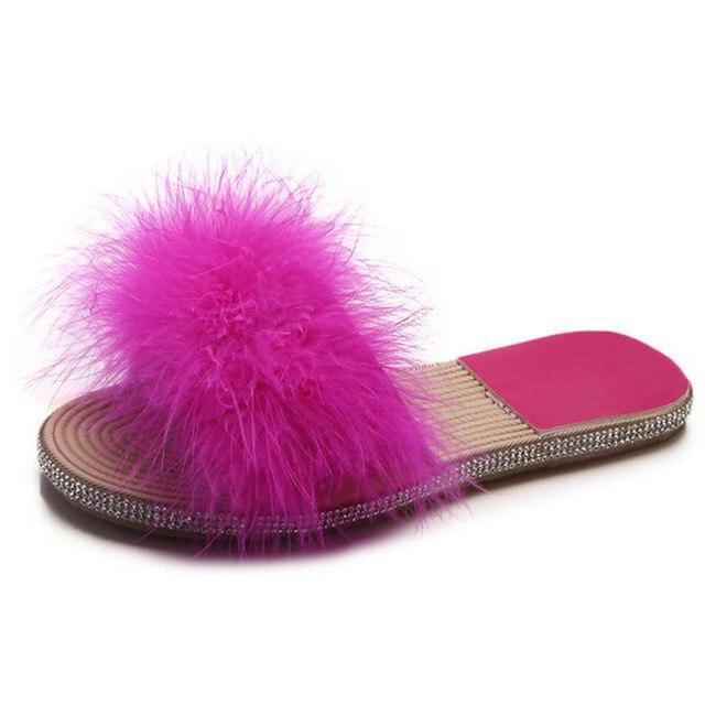COVOYYAR Rose Pink Fuzzy Sliders Feather Slides for Women