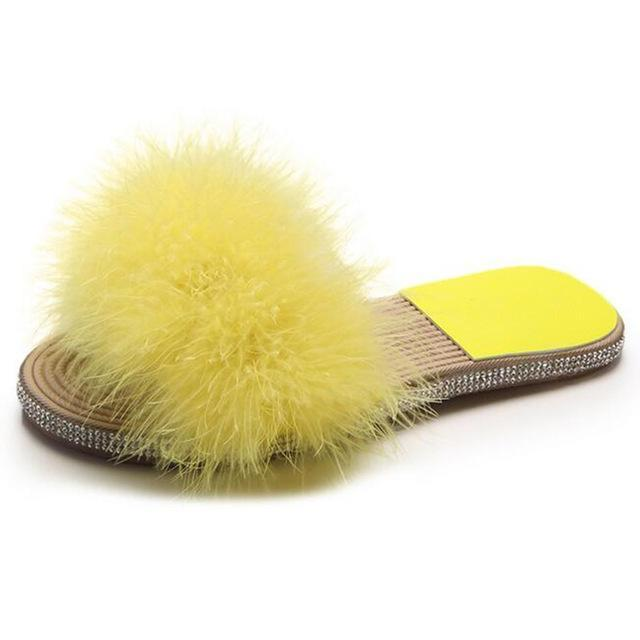 COVOYYAR Yellow Fuzzy Sliders Feather Slides for Women